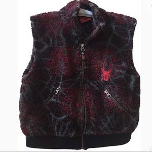 Spyder Full-Zip Fleece Vest Spiderweb Design Sz 10